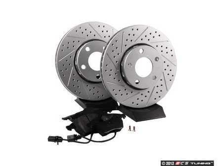 ES#2561570 - 4A0301DXSGMTKT - Performance Front Brake Service Kit - Featuring ECS GEOMET Drilled & Slotted rotors and Hawk HPS pads - Assembled By ECS - Audi