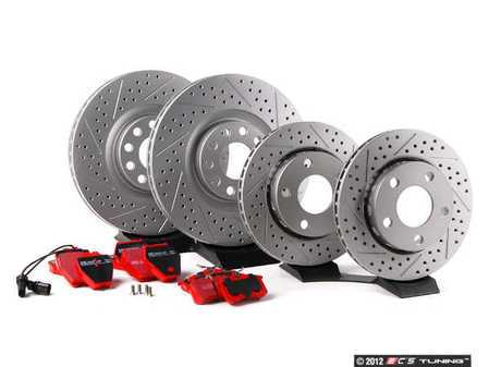 ES#2083434 - 8D0698009 - Performance Front & Rear Brake Service Kit - ECS Cross Drilled & Slotted Rotors & EBC Redstuff Pads - Featuring GEOMET Protective coating - Everything needed to service your front and rear brakes - Assembled By ECS -