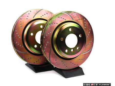ES#521540 - GD1003 - Rear Cross Drilled & Slotted Brake Rotors - Pair (320x22) - Upgrade to a slotted / dimpled rotor for improved braking - EBC - BMW