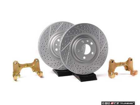 ES#4523 - B7A4S1FXS - Front Big Brake Kit - Stage 1 - Cross-Drilled & Slotted Rotors (345x30) - Upgrade to the stopping power of the Audi S4. Includes ECS GEOMET brake rotors. - Assembled By ECS - Audi