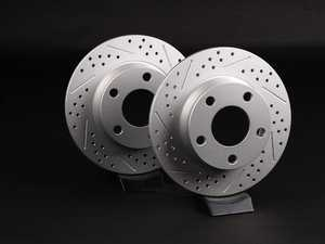 "ES#2538841 - 4B0601BXSGMTKT - Rear Cross Drilled & Slotted Brake Rotors - Pair (255x10) 1.50"" Offset - Featuring GEOMET protective coating - ECS - Audi"