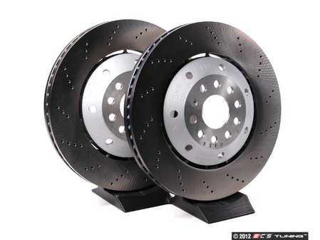 ES#2501066 - 4B3615301E302AKT - Front Cross Drilled Brake Rotors - Pair (365x34) - Restore the stopping power in your vehicle - Genuine Volkswagen Audi - Audi