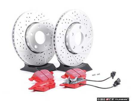 ES#2561709 - 4A0301DXSGMTKT1 - Performance Front Brake Service Kit - ECS Cross Drilled & Slotted Rotors & EBC Redstuff Pads - Featuring GEOMET Protective coating - Everything needed to service your front brakes - Assembled By ECS -