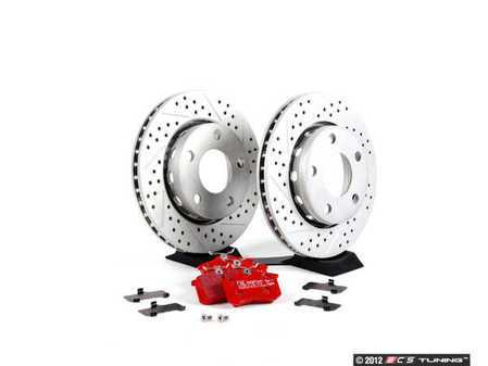 ES#2561651 - 8D0601DXSGMTKT1 - Performance Rear Brake Service Kit - ECS Cross Drilled & Slotted Rotors & EBC Red Stuff Pads - Featuring GEOMET Protective coating - Everything needed to service your rear brakes - Assembled By ECS -