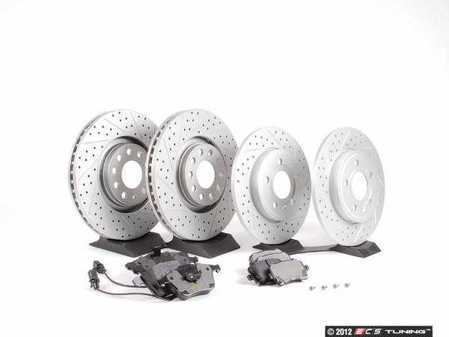 ES#2562107 - 8E0301ADXGMTKT4 - Performance Front & Rear Brake Service Kit - Featuring ECS GEOMET Drilled & Slotted rotors and Hawk HPS pads - Assembled By ECS - Audi