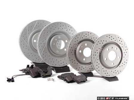 ES#2561960 - 8E0301TXSGMTKT1 - Performance Front & Rear Brake Service Kit - Featuring ECS GEOMET Drilled & Slotted rotors and Hawk HPS pads - Assembled By ECS - Audi