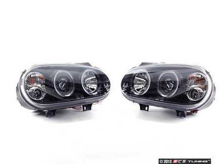 ES#10581 - fkfsvw203 - Angel Eye Projector Headlight Set - Black - With fog lights and angel eyes - FK - Volkswagen