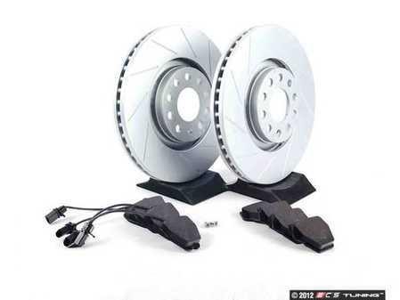 ES#2562613 - 8E0301ADSGMTKT5 - Performance Front Brake Service Kit - Featuring ECS GEOMET Slotted rotors and Hawk HPS pads - Assembled By ECS - Audi
