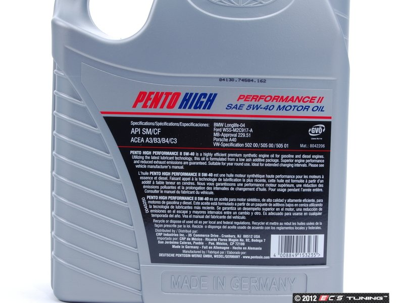 Pentosin Pen 5w 40 5l Pento High Performance Ii Engine