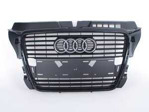ES#2084628 - 8P0853651PVMZ - Blackout Grille Assembly - Matte Black - Includes Audi rings - Genuine Volkswagen Audi - Audi