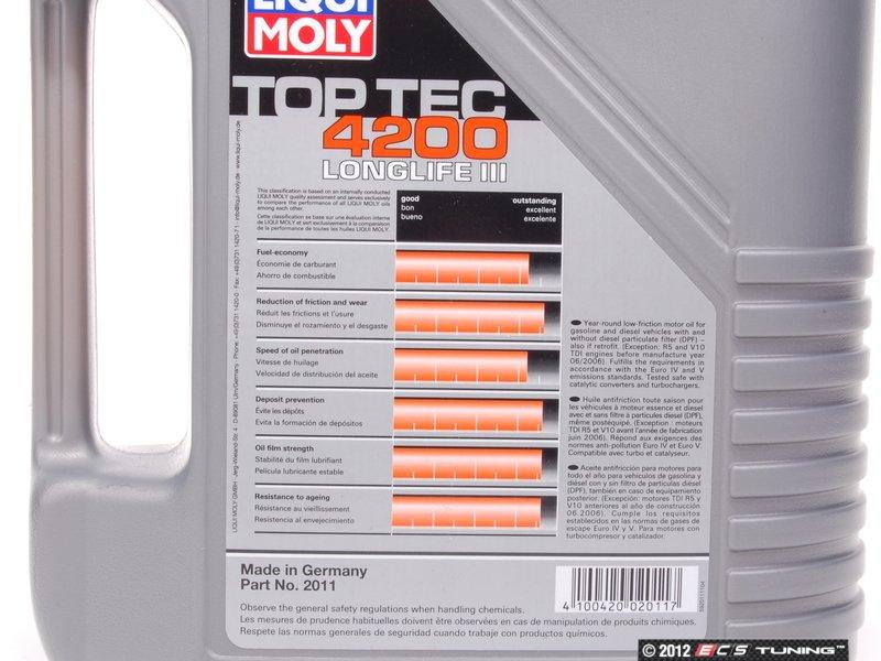 liqui moly 2011 top tec 4200 long life engine oil 5w 30 5 liter. Black Bedroom Furniture Sets. Home Design Ideas