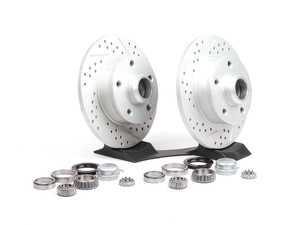 ES#1051 - ECS4-5RCONVSTG3 - 4-5 Lug Conversion Kit - Cross Drilled & Slotted Rotors - Rear - 226mm ECS GEOMET cross-drilled & slotted 5-lug rotors, new bearings & seals - Assembled By ECS - Volkswagen