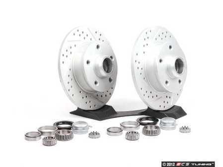 ES#1051 - ECS4-5RCONVSTG3 - 4-5 Lug Conversion Kit - Cross Drilled & Slotted Rotors - Rear - 226mm ECS V4 cross-drilled & slotted 5-lug rotors, new bearings & seals - Assembled By ECS - Volkswagen