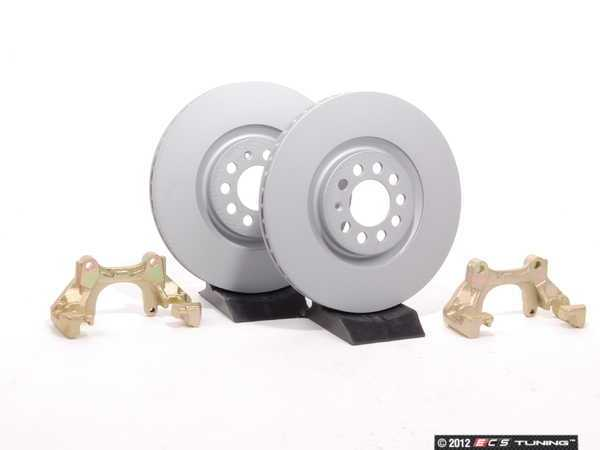 ES#410 - MK4TTBBKNP-P -  337/20th/GLI Front Brake Rotor/Carrier Kit - Plain Rotors (312x25) - Upgrade to larger rotors for increased brake torque. Reuse your stock calipers, pads, and mounting hardware! Featuring Coat Z protective coating. - Assembled By ECS - Volkswagen