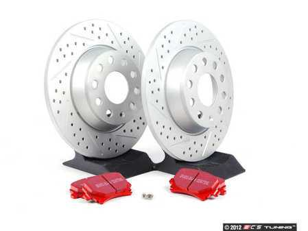 ES#2593928 - 1K0601MXSKT - Performance Rear Brake Service Kit - (286x12) ECS Cross Drilled & Slotted Rotors & EBC Redstuff Pads - Featuring GEOMET protective coating - Everything needed to service your rear brakes - Assembled By ECS -