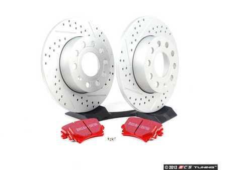 ES#2593934 - 1K0601LXSKT - Performance Rear Brake Service Kit - (260x12) ECS Cross Drilled & Slotted Rotors & EBC Redstuff Pads - Featuring GEOMET protective coating - Everything needed to service your rear brakes - Assembled By ECS -