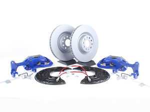 ES#518092 - 1K0698012 -  Front Big Brake Kit - Stage 2 - Plain Rotors (345x30) - Upgrade your stopping power to the MKV R32 setup with Blue calipers - Assembled By ECS - Audi Volkswagen