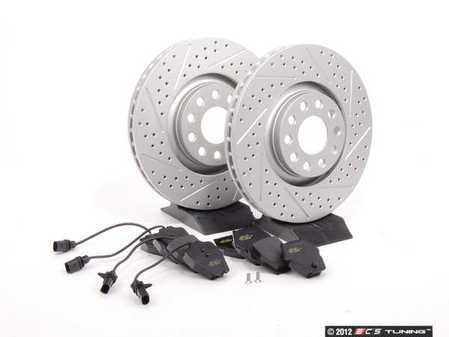 ES#2562612 - 8E0301ADXGMTKT6 - Performance Front Brake Service Kit - Featuring ECS GEOMET Drilled & Slotted rotors and Hawk HPS pads - Assembled By ECS - Audi