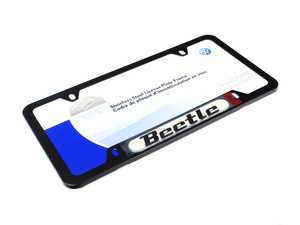 ES#2224712 - 5C0071801K - Beetle License Plate Frame - Black - Stainless steel plate frame featuring the Beetle script - Genuine Volkswagen Audi - Volkswagen