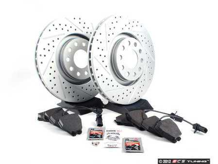 ES#2561647 - 8E0301ADXGMTKT - Performance Front Brake Service Kit - Featuring ECS GEOMET Drilled & Slotted rotors and Hawk HPS pads - Assembled By ECS - Audi