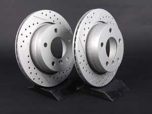 ES#2497365 - 1165211XSGMTLRA - Rear Cross Drilled & Slotted Brake Rotors - Pair (276x19) - Featuring GEOMET protective coating offering superior rust protection for long lasting, great looking rotors. - ECS - BMW