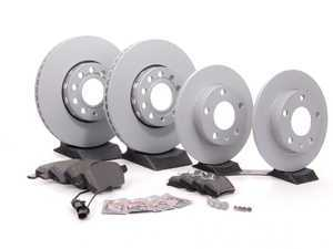 ES#260209 - 4a0698001 -  Front & Rear Premium Brake Service Kit - Featuring Zimmerman rotors and Akebono Euro Ceramic pads - Assembled By ECS - Audi