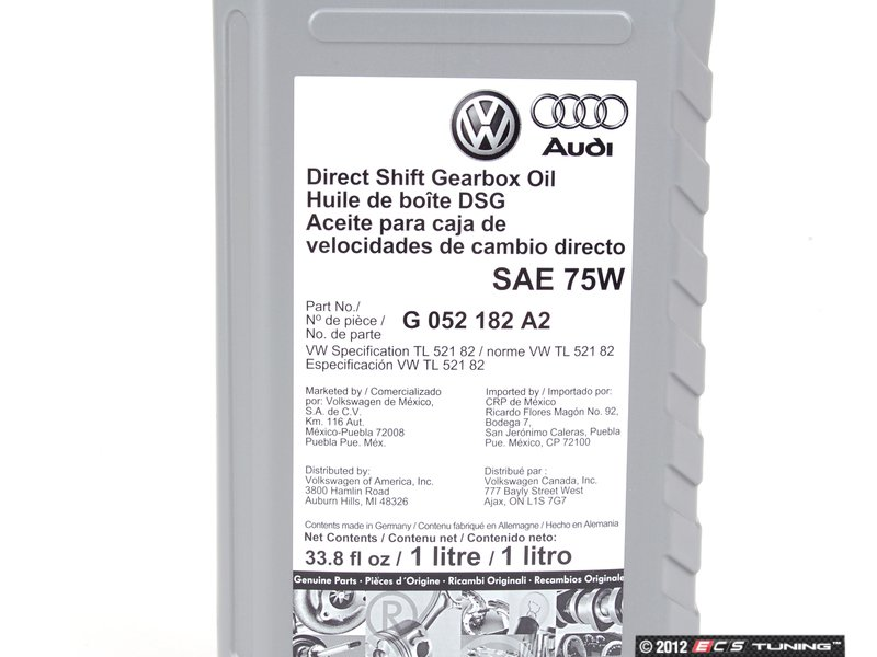 Genuine Volkswagen Audi G052182a2 Dsg Transmission Oil