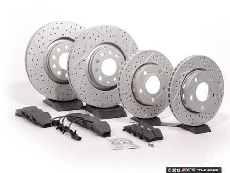 ES#2561653 - 8E0301ADXGMTKT2 - Performance Front & Rear Brake Service Kit - Featuring ECS GEOMET Drilled & Slotted rotors and Hawk HPS pads - Assembled By ECS - Audi