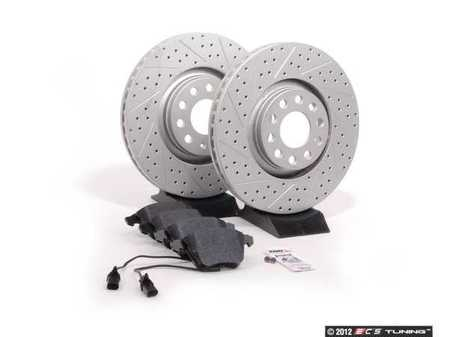 ES#2562103 - 8E0301ADXGMTKT3 - Performance Front Brake Service Kit - Featuring ECS GEOMET Drilled & Slotted rotors and Hawk HPS pads - Assembled By ECS - Audi