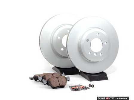 ES#2515298 - e4612345 - Front Brake Service Kit - Featuring Meyle coated rotors and Vaico pads - Assembled By ECS - BMW