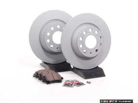ES#2593941 - 1K0615601MKT - Rear Brake Service Kit - Featuring Zimmerman rotors and Vaico semi metallic pads - Assembled By ECS - Audi