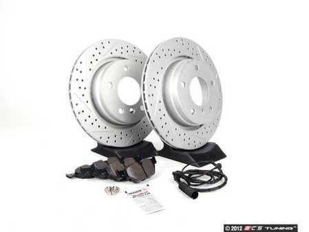 ES#2588182 - 34351164372TKT2 - Performance Rear Brake Service Kit - Featuring ECS GEOMET cross drilled and slotted rotors and Hawk HPS pads - Assembled By ECS - BMW