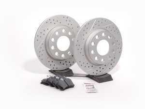 ES#2594785 - 8E0601DGMTXSKT1 - Performance Rear Brake Service Kit - Featuring ECS GEOMET Drilled & Slotted rotors and Hawk HPS pads - Assembled By ECS - Audi