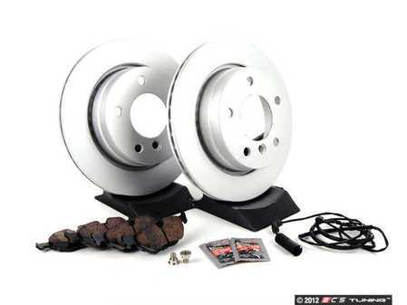 ES#257435 - E463422-1 - Rear Brake Service Kit - Featuring Meyle coated rotors and Akebono Ceramic pads - Assembled By ECS - BMW