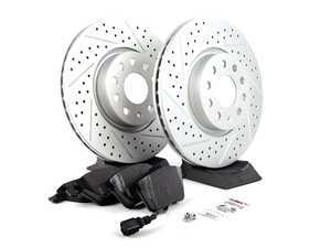 ES#2597464 - 1K0301AAXSGMTKT - Performance Front Brake Service Kit - Featuring ECS GEOMET Drilled & Slotted rotors and Hawk HPS pads - Assembled By ECS - Audi