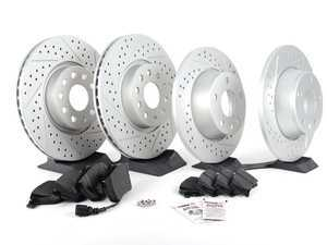 ES#2597465 - 1K0301AAXSGMTKT1 - Performance Front & Rear Brake Service Kit - Featuring ECS GEOMET Drilled & Slotted rotors and Hawk HPS pads - Assembled By ECS - Audi