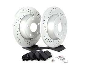 ES#2597467 - 8J0601XSGMTKT - Performance Rear Brake Service Kit - Featuring ECS GEOMET Drilled & Slotted rotors and Hawk HPS pads - Assembled By ECS - Audi
