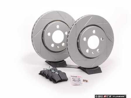 ES#2581478 - DP3680CRPSKT - Performance Rear Brake Service Kit (256x22) - Featuring ECS GEOMET slotted rotors and Hawk HPS pads - Assembled By ECS - Volkswagen