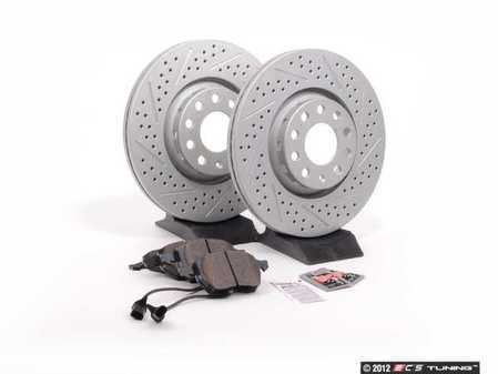 ES#2561915 - 8E0301RXSGMTKT1 - Performance Front Brake Service Kit - Featuring ECS GEOMET Drilled & Slotted rotors and Hawk HPS pads - Assembled By ECS - Audi