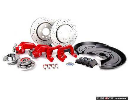 ES#3940 - 33720AERBKXRV2 - 337/20th/GLI Rear Big Brake Kit - Cross Drilled & Slotted Rotors (256x22) - Red - Includes ECS GEOMET cross drilled & slotted rotors, hubs, bearings, splash shields, hardware, carriers & calipers - Assembled By ECS - Volkswagen