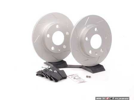 ES#2561908 - 8E0601PSLGMTKT - Performance Rear Brake Service Kit - Featuring ECS GEOMET Slotted rotors and Hawk HPS pads - Assembled By ECS - Audi