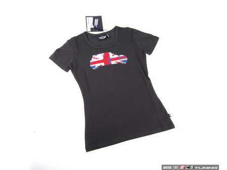 ES#2499029 - 80142211302 - MINI Ladies Britcar Tee - Black - Small - Union Jack print in a MINI side view outline - Genuine MINI - MINI
