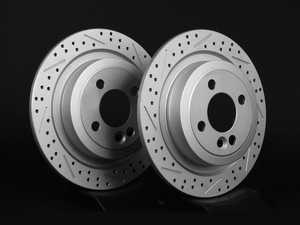 "ES#2539271 - 342389XSGMTLRKT - Rear Cross Drilled & Slotted Brake Rotors - Pair 11.02"" (280x10) - Featuring GEOMET protective coating. - ECS - MINI"