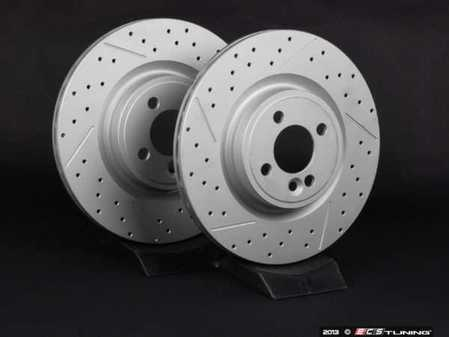 "ES#2539206 - 341366XSGMTLRKT - Front Cross Drilled & Slotted Brake Rotors - Pair 12.44"" (316x22) - Featuring GEOMET protective coating. - ECS - MINI"