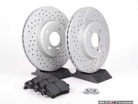 ES#2598328 - 34116768933XSKT2 - Performance Front Brake Service Kit - Featuring ECS GEOMET Slotted/Drilled rotors and Hawk HPS pads - Assembled By ECS - MINI