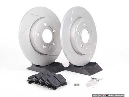 ES#2562106 - 8E0601MSLGMTKT - Performance Rear Brake Service Kit - Featuring ECS GEOMET Slotted rotors and Hawk HPS pads - Assembled By ECS - Audi