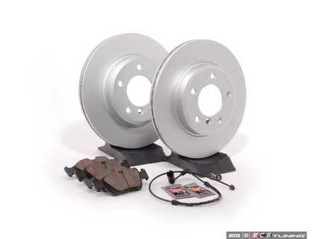 ES#1866547 - E463411 - Front Brake Service Kit - Featuring Meyle coated rotors and Brembo pads - Assembled By ECS - BMW