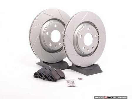 ES#2561955 - 8E0601RSLGMTKT - Performance Rear Brake Service Kit - Featuring ECS GEOMET Slotted rotors and Hawk HPS pads - Assembled By ECS - Audi
