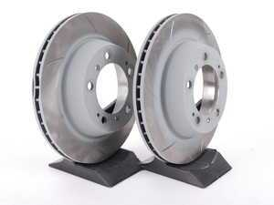 """ES#2597701 - 909322 - Rear Slotted Brake Rotors - Pair 11.77"""" (299mm) - Directional rear axle fitment - Both left and right - Sebro - Porsche"""