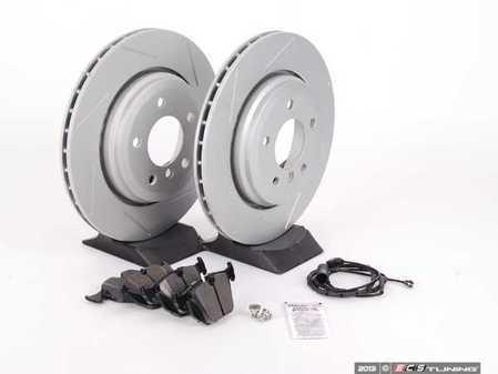 ES#2594533 - 34351164372KT5 - Performance Rear Brake Service Kit - Featuring ECS GEOMET slotted rotors and Hawk HPS pads - Assembled By ECS - BMW